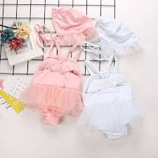 <b>2019 Infant Baby</b> Kids <b>Girls Swimsuit</b> Angle Wing Lace Suspender