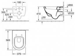 <b>Унитаз</b> подвесной <b>Villeroy&Boch Subway 2.0</b> 56001001 (5600 ...