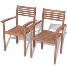 D-Shop <b>Stackable Garden Chairs 2</b> pcs Solid Teak Wood - Design ...