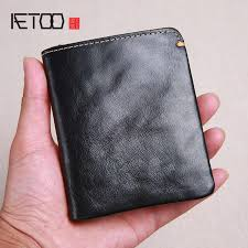 <b>AETOO</b> Original <b>handmade retro</b> men's short leather wallet men's ...