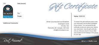 gift certificates british columbia bed breakfast innkeepers guild bc s best b and b s gift certificate