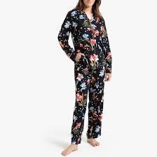 <b>Пижама</b> с цветочным принтом и с длинными рукавами черный ...