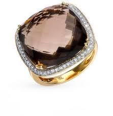 Золотое <b>кольцо</b> с <b>раухтопазами</b> и <b>бриллиантами</b> SUNLIGHT ...
