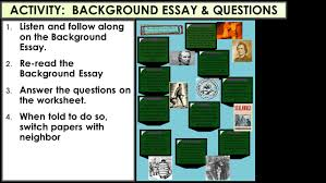 who killed reconstruction objective to examine various primary activity background essay questions 1 listen and follow along on the background essay
