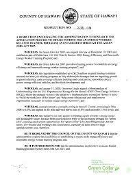 green collar jobs act research funding resolution  green collar jobs act hawaii county council resoltuion 731