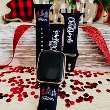 Merry <b>Christmas</b> Print <b>Silicone Band For</b> Apple Watch – Fancy <b>Bands</b>