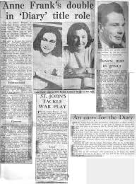 The Diary of Anne Frank Newspaper articles