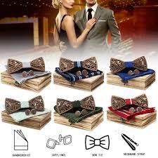 <b>4PCS Men Wooden Bow</b> Tie set Handkerchief Bowtie Necktie ...