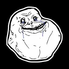 Forever Alone meme shaped sticker | Unixstickers via Relatably.com