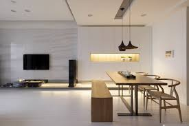 a letterbox of light flanks the dining place creating ambient lighting as well as breaking ambient lighting ideas