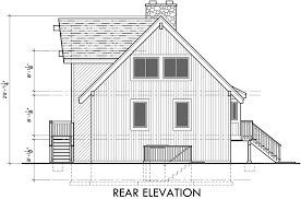 A Frame House Plans  Vacation House Plans  Masonry FireplaceHouse rear elevation view for A Frame house plans  Vacation house plans