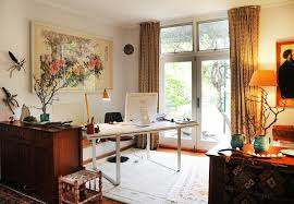mugga way residence eclectic home office idea in sydney with gray walls and a freestanding desk agreeable double office desk luxury inspirational
