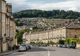 Looking north-west from Bathwick Hill towards the northern suburbs, showing  the variety of housing typical of Bath