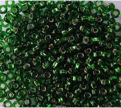 "<b>Бисер</b> ""<b>Preciosa"", с серебристой</b> серединой, цвет: зеленый ..."