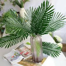 5/<b>10Pcs</b> Green <b>Palm</b> Leaves Plastic Silk <b>Fake Plant</b> Artificial Leaf ...
