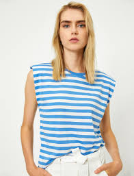 Blue Striped Women <b>Round Neck Sleeveless</b> Striped T-Shirt ...