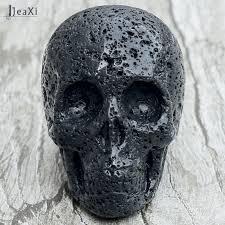 Stunning 2 inch Black Lava <b>skull statue</b> natural Volcanic Stone <b>Skull</b> ...
