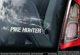 <b>PIKE HUNTER</b>, Car Sticker, Fish Gear Fishing Window Bumper Boat ...