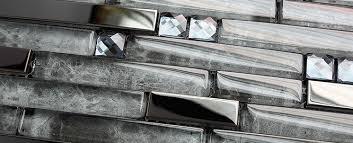 kitchen backsplash stainless steel tiles: stainless steel mosaic tile backsplash ssmt glossy stainless steel tiles strip grey glass mosaic kitchen tile