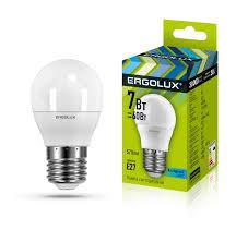 <b>Светодиодная лампа Ergolux LED</b>-<b>G45</b>-<b>7W</b>-<b>E27</b>-<b>4K</b> ...