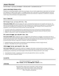 free mortgage consultant resume example