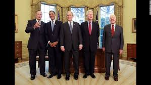 obama poses in the oval office with several former us presidents in january 2009 from barack obama oval office