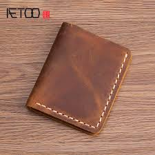 <b>AETOO Handmade</b> wallet male leather casual short wallet <b>retro</b> ...