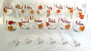 ideas burnt orange: fall wedding party wine glass gold brown and burnt orange leaves fall theme wine glasses bridesmaid gift and groomsman gift