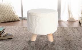 3-legged Decorative <b>Round Faux Fur Stool</b> - LIVINGbasics | Real ...