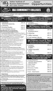 jobs in sukkur institute of business administration iba community jobs in sukkur institute of business administration iba community colleges jobs