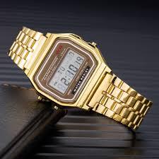 Luxury Gold LED Digital Watch Men Women Fashion Bracelet ...