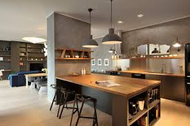 semi round gray shade pendant lamp with iron chain hanger over gray stained wooden islannd using appealing pendant lights kitchen