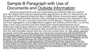 key things to remember when writing a dbq categories x a and b sample b paragraph use of documents and outside information american imperialists and anti