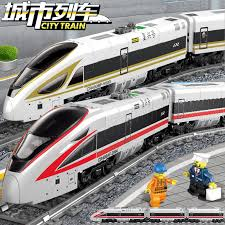 <b>647Pcs</b> Battery Powered Electric Train High speed Rail LegoINGLs ...