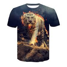 2019 new flame tiger 3D printed T shirt, <b>cool men's personality black</b> ...