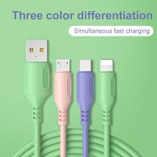 <b>3in1 Liquid silicone</b> 2A Fast Charging Data Cord skin friendly Cable ...