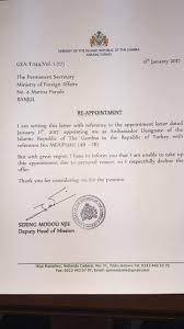 deputy ambassador njie declines jammeh s ambassadorial job in this article