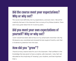 did the course meet your expectations why or why not tackk