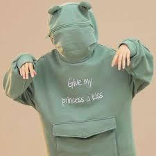 $14.89 Give My Princess a Kiss <b>Frog Korean Style</b> Oversized ...