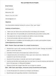 manufacturing resume template –    free samples  examples  format    sample pipe layer helper resume template