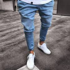 2019 2019 <b>Men'S Stretchy Ripped Skinny</b> Biker Jeans Destroyed ...