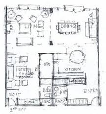 Floor plan rendering   Drawing   HandFloorPlanSketch