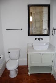 washstand bathroom pine: powder room custom designed and built vanity marble tile countertop vessel bowl sink