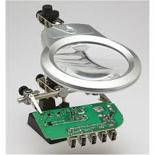 Helping Hand <b>Clip</b>/<b>Clamp</b> with <b>LED</b>, Magnifying Glass, <b>Soldering</b> ...