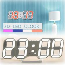Modern Wall Clock <b>Digital 3D LED</b> Table Clock Time Date ...