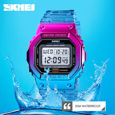 SKMEI <b>Fashion Watches</b> Gradient Color Electroplated Case Digital ...