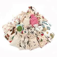 <b>50pcs</b> Cotton Linen Gift Jewelry <b>Bags</b> Printed <b>Handmade Drawstring</b> ...