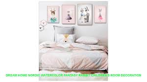 Dream home Nordic watercolor fantasy rabbit children's room ...
