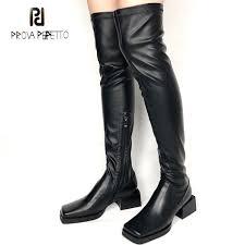 <b>Prova Perfetto Black</b> Elastic Leather Over The Knee Boots Women ...