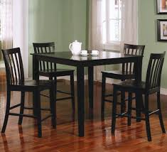 tall dining chairs counter: square black furnished wooden wooden banister backrest chairs square furnished wooden dining table four square